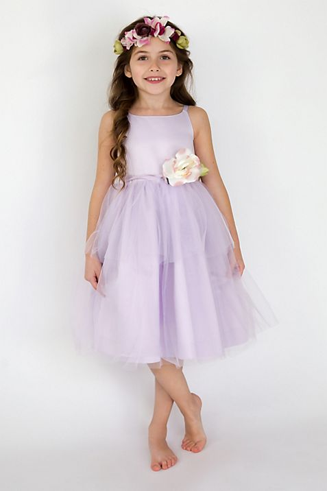 Spaghetti strap tulle flower girl dress davids bridal mightylinksfo