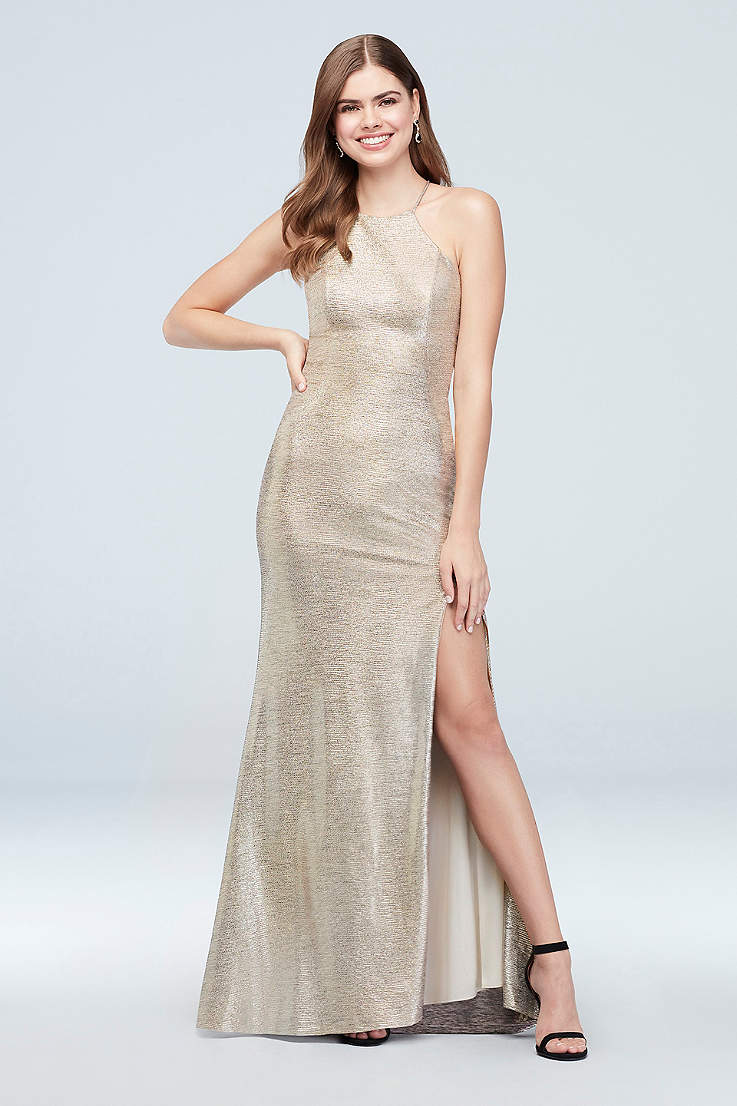 7a82cf536a5 High-Neck Metallic Sheath Dress with Strappy Back