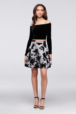 Velvet Top Off-the-Shoulder and Flocked Skirt Set