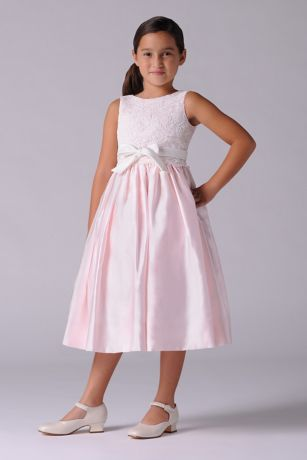 6ee5dfb43a7 Lace and Satin Flower Girl Dress With Sash