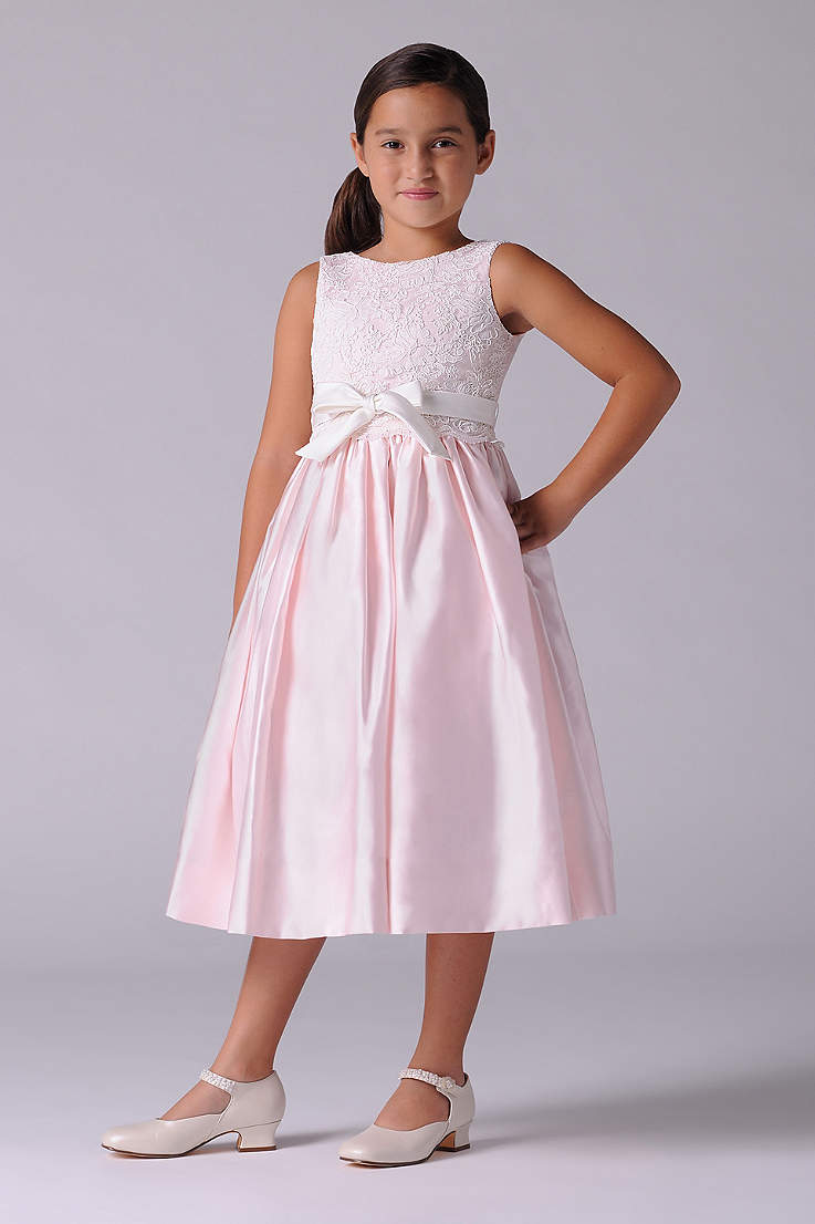 b95b71d7180 Lace and Satin Flower Girl Dress With Sash