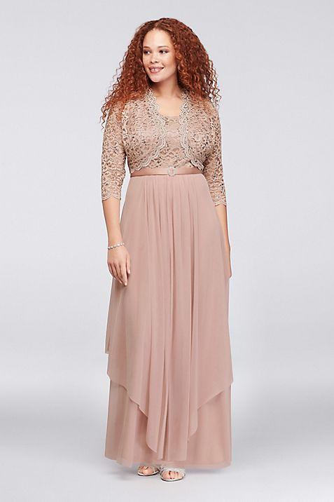 Sequin Lace and Chiffon Plus Size Bolero Dress | David\'s Bridal