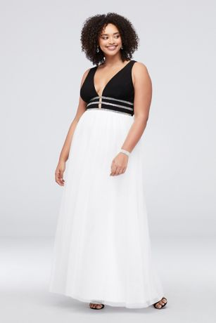 75c2f5b3a3a77 Deep V-Neck Plus Size Ball Gown with Crystal Rows