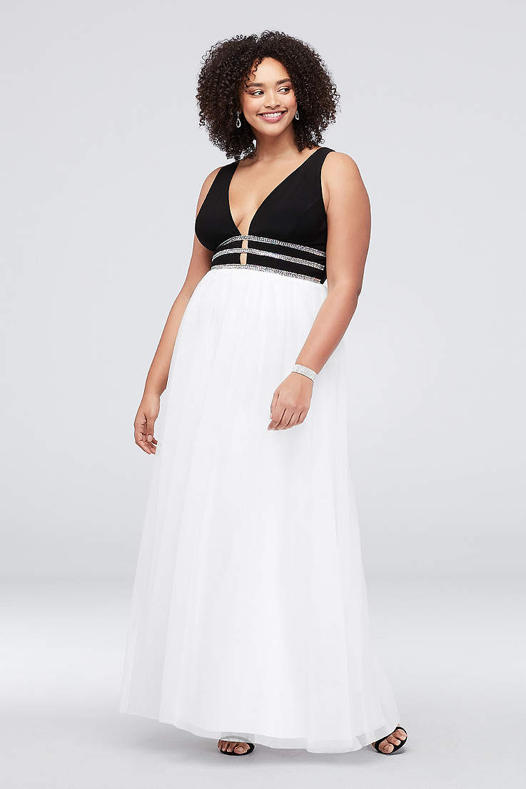 Deep V-Neck Plus Size Ball Gown with Crystal Rows