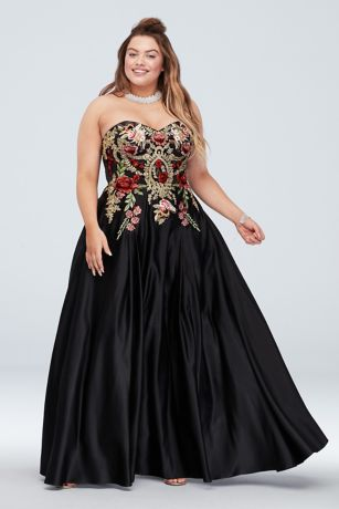 2ad96750c7 Long Ballgown Strapless Dress - Blondie Nites · Blondie Nites. Strapless  Satin Floral Embroidered Plus Size Gown