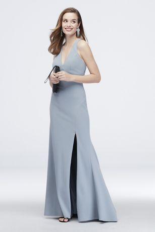 Crepe Plunging V-Neck Tank Sheath Dress with Slit