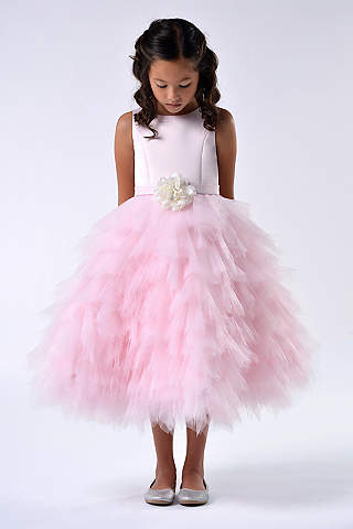 Cheap flower girl dresses davids bridal satin and tulle tea length flower girl dress mightylinksfo