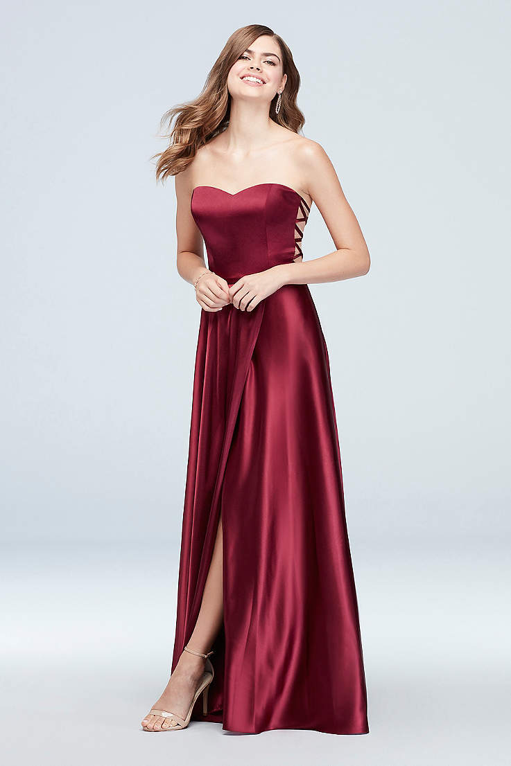 9427ab6afd Long A-Line Strapless Dress - Blondie Nites