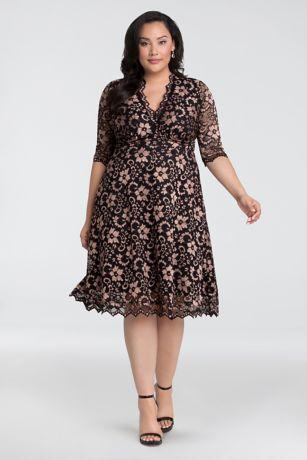 ab113c028b4c Tea Length A-Line Elbow Sleeves Dress - Kiyonna · Kiyonna. 3 4 Illusion Mon  Cherie Plus Size ...