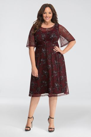 Short A-Line Elbow Sleeves Dress - Kiyonna