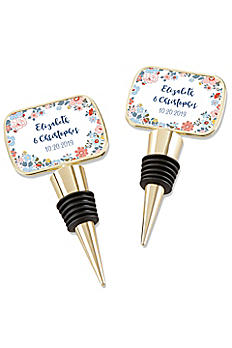 Personalized Floral Pattern Gold Bottle Stopper 11189GD-DBF