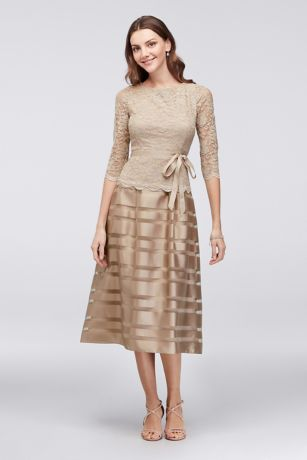Tea Length A-Line 3/4 Sleeves Dress - Alex Evenings