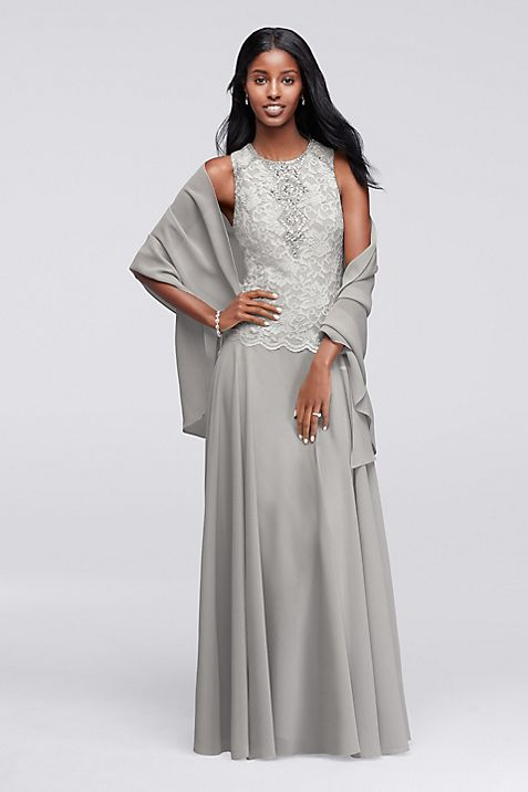 Sleeveless Long Dress with Coordinating Shawl | David\'s Bridal