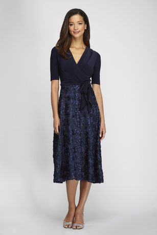 Tea Length A-Line Elbow Sleeves Dress - Alex Evenings