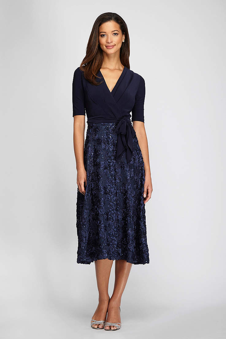 ed9500d243c0 Tea Length A-Line Elbow Sleeves Dress - Alex Evenings