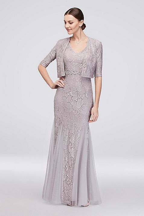 V-Neck Lace Gown with Matching Bolero | David\'s Bridal