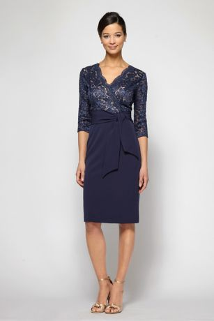 Short 3/4 Sleeves Dress - Alex Evenings