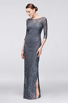 3/4-Sleeve Sequined Lace Column Dress with V-Back