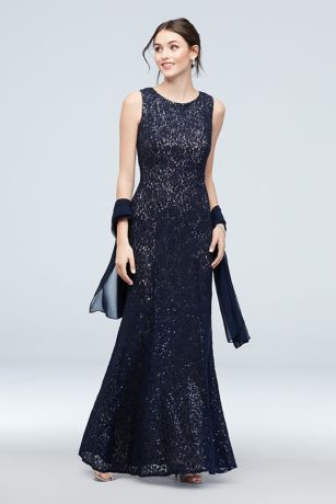 Sequin and Lace High Neck Mermaid Gown with Shawl