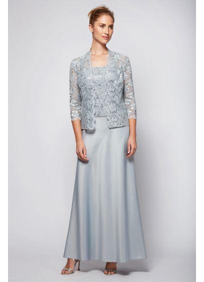 A Line Scalloped Lace And Satin Jacket Dress Davids Bridal