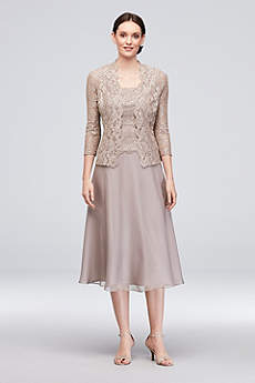 Tea Length A-Line Jacket Formal Dresses Dress - Alex Evenings