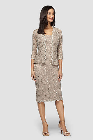 Short Sheath Jacket Tail And Party Dress Alex Evenings