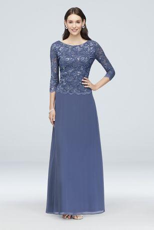 7511705471c Long A-Line 3 4 Sleeves Dress - Alex Evenings
