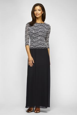 Long Ballgown 3/4 Sleeves Dress - Alex Evenings