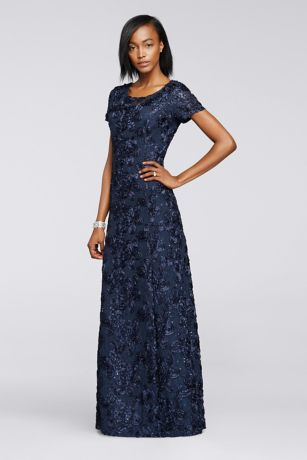 Long A-Line;Ballgown Cap Sleeves;Short Sleeves Dress - Alex Evenings