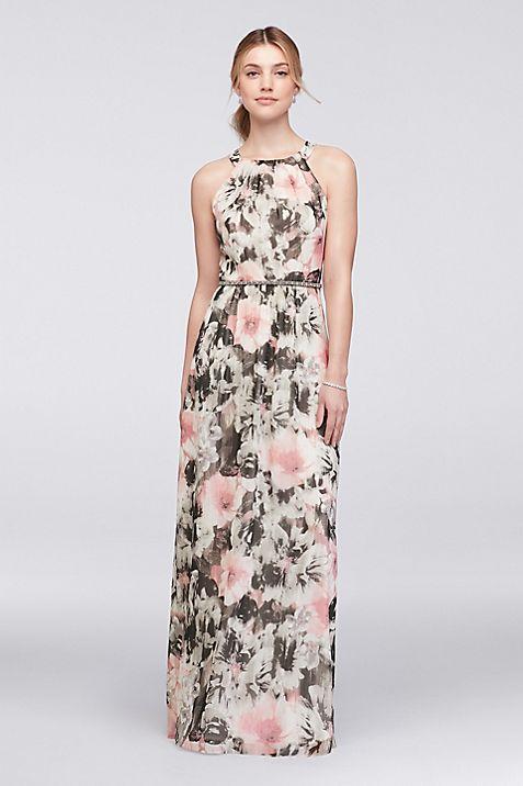 Floral Chiffon Halter Dress with Beaded Belt   David\'s Bridal