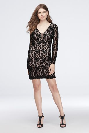 Short Sheath Long Sleeves Dress - Haute Nites