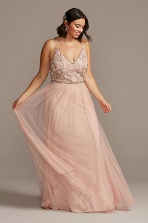Skinny Strap Beaded Bodice Plus Size Gown