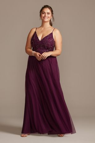 Skinny Strap Beaded Bodice Plus Size Gown by Jump
