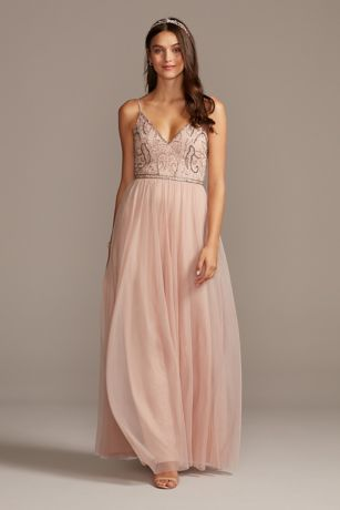Skinny Strap Beaded Bodice Gown