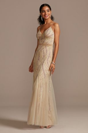 Beaded Overlay V-Neck Gown with Spaghetti Straps