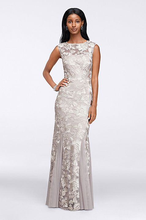 Cap Sleeves Embroidered Dress with Tulle Godets | David\'s Bridal