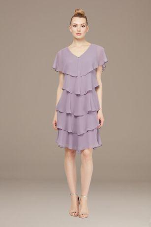 Short Sheath Capelet Dress - SL Fashions