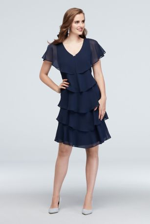 Short Sheath Capelet Dress - Ignite