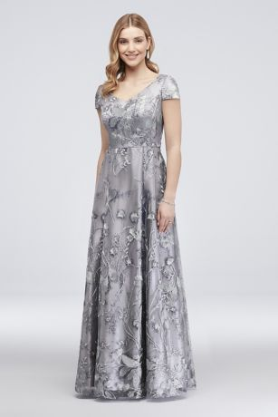 Floral Embroidered Ball Gown with Mini Sequins
