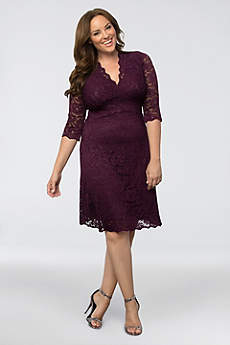 Short Sheath 3/4 Sleeves Cocktail and Party Dress - Kiyonna