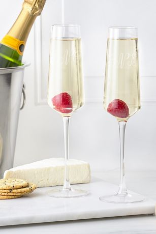 Personalized Monogram Champagne Estate Glasses Set