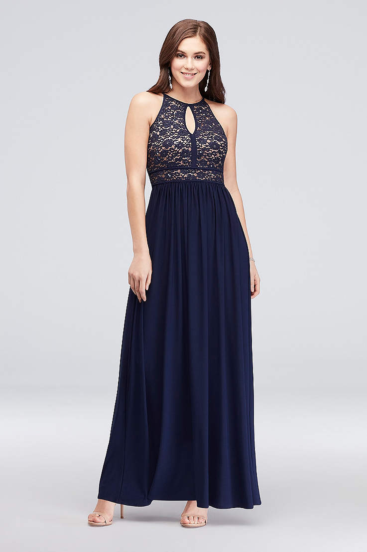 331531eb2c Long A-Line Halter Dress - Morgan and Co