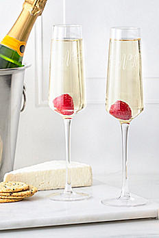 Personalized Monogram Champagne Estate Glasses Set 1208