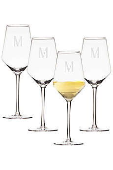 Personalized 14oz White Wine Estate Glass Set of 4