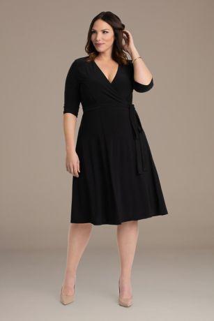 Tea Length A-Line Elbow Sleeves Dress - Kiyonna