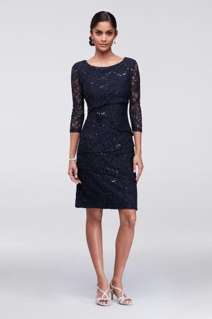 Short Sheath 3/4 Sleeves Dress - Ronni Nicole