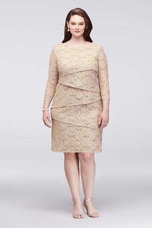 Plus Size Asymmetric Tiered Lace Sheath Dress
