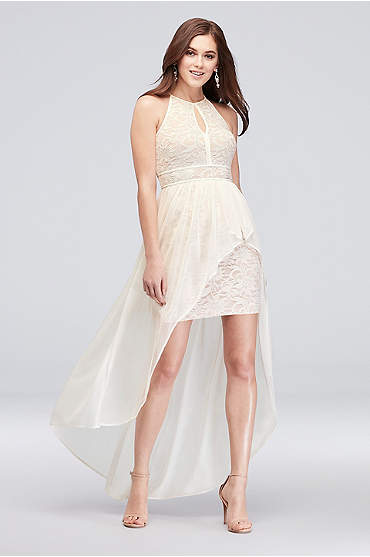 Lace Glitter Keyhole Halter Dress with Overskirt