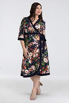 Tea Length 3/4 Sleeves Cocktail and Party Dress - Kiyonna