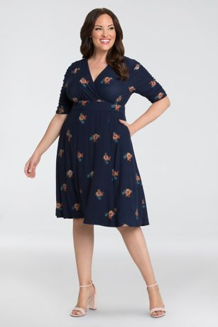 Tea Length A-Line Elbow Sleeves Dress - Kiyonna